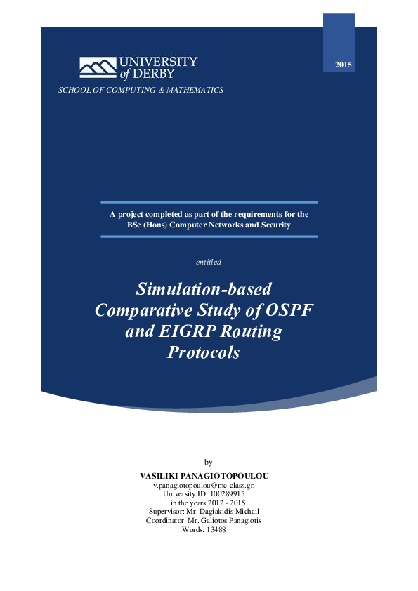 PDF) Simulation-based Comparative Study of OSPF and EIGRP