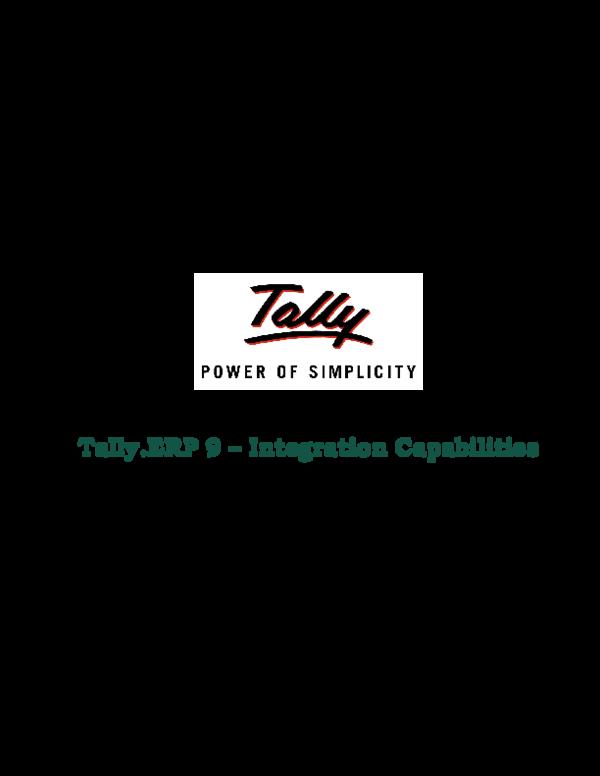 PDF) Tally ERP 9 – Integration Capabilities | vardha raju - Academia edu