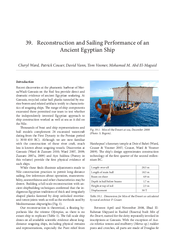 PDF) Reconstruction and Sailing Performance of an Ancient Egyptian