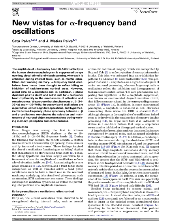 PDF) New vistas for α-frequency band oscillations | Satu