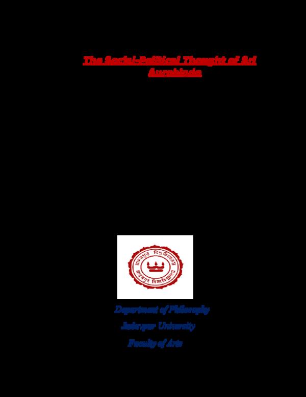 Doc Socio Political Thought As Conceived By Sri Aurobindo Dr Debashri R Banerjee Academia Edu