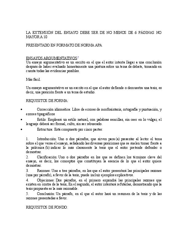 Doc Requisitos Ensayo Argumentativo 1 Keilin Sanchez