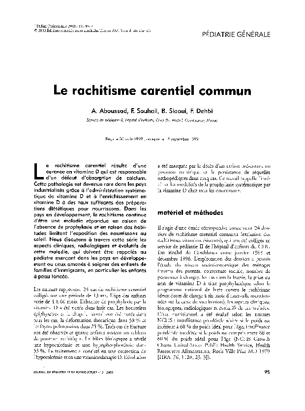 PDF) Le rachitisme carentiel commun | F. Dehbi - Academia.edu