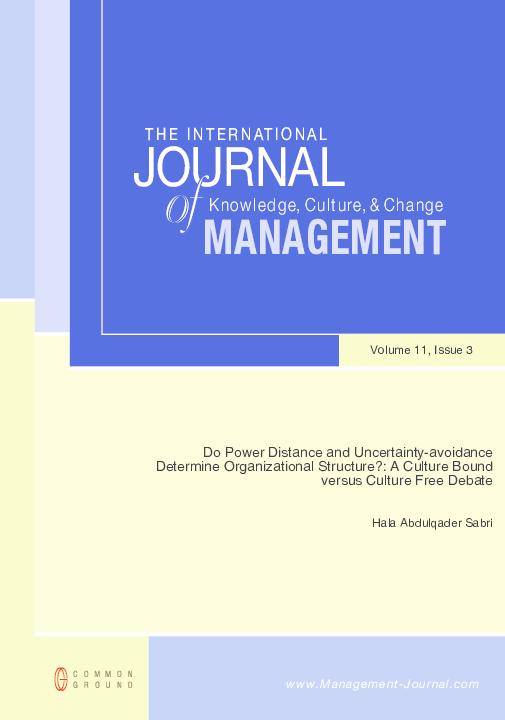 Pdf Do Power Distance And Uncertainty Avoidance Determine Organizational Structure A Culture Bound Versus Culture Free Debate Hala Sabri Academia Edu