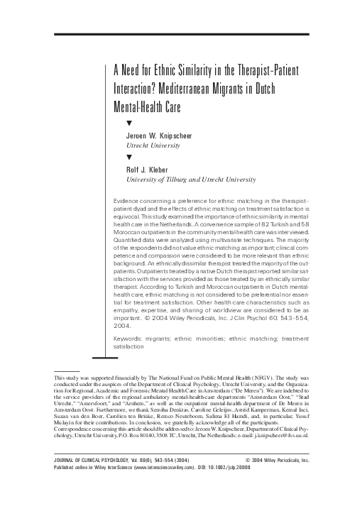 (PDF) A need for ethnic similarity in the therapist ...