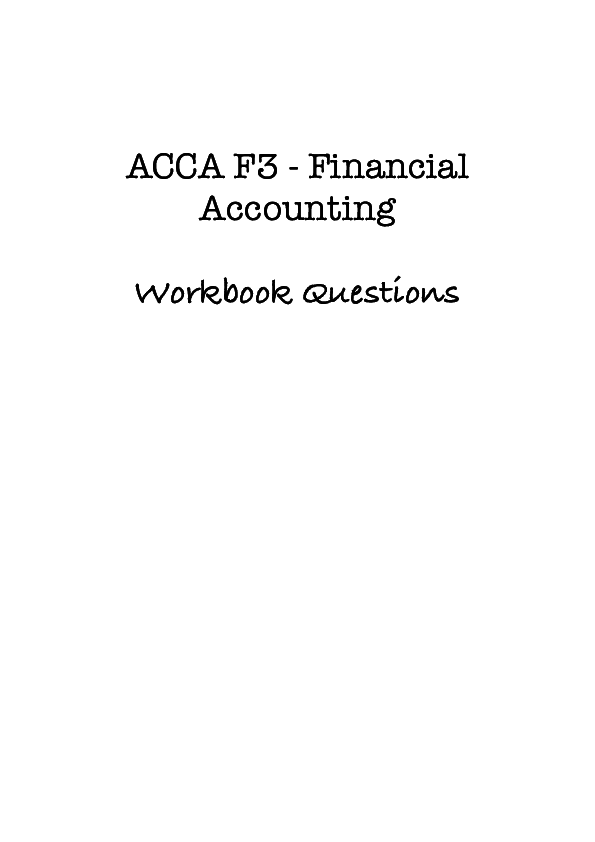 PDF) ACCA F3 -Financial Accounting Workbook Questions | Matiullah