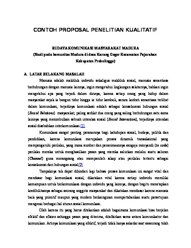 Doc Contoh Proposal Penelitian Kualitatif Budaya Komunikasi
