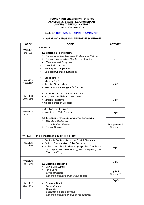 DOC) CHM092 COURSE SYLLABUS TENTATIVE SCHEDULE JUN 2016