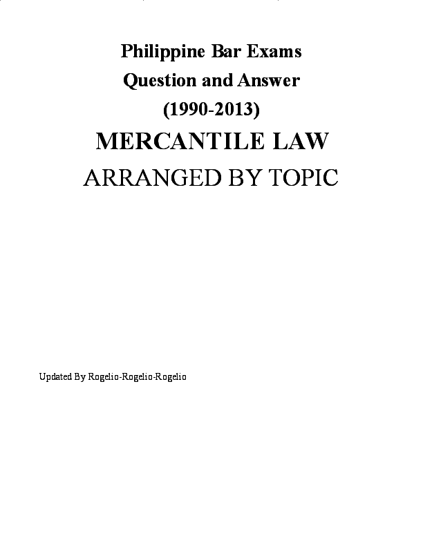 DOC) Philippine Bar Exams Mercantile Law-Questions and