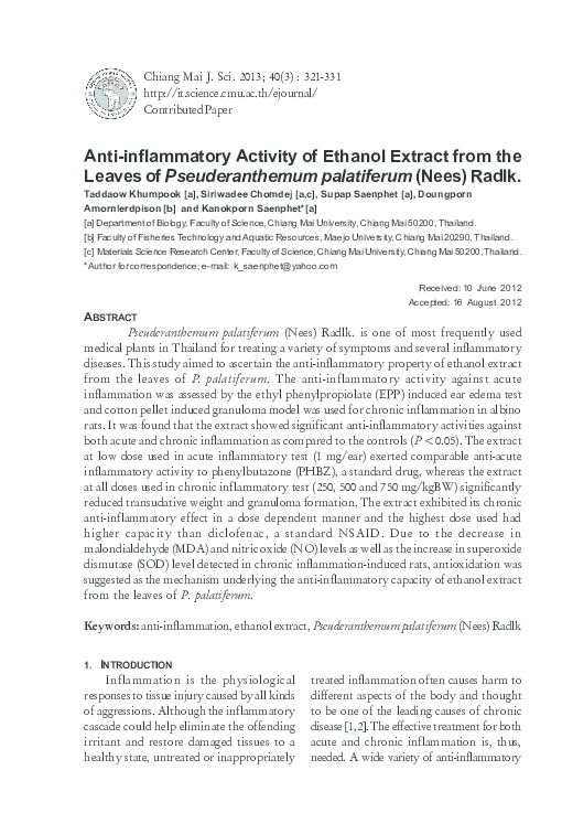 PDF) Anti-inflammatory activity of ethanol extract of Vitex
