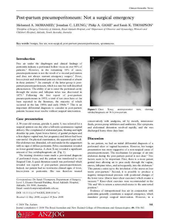 Pdf Post Partum Pneumoperitoneum Not A Surgical Emergency Mohamed Mohamed Academia Edu