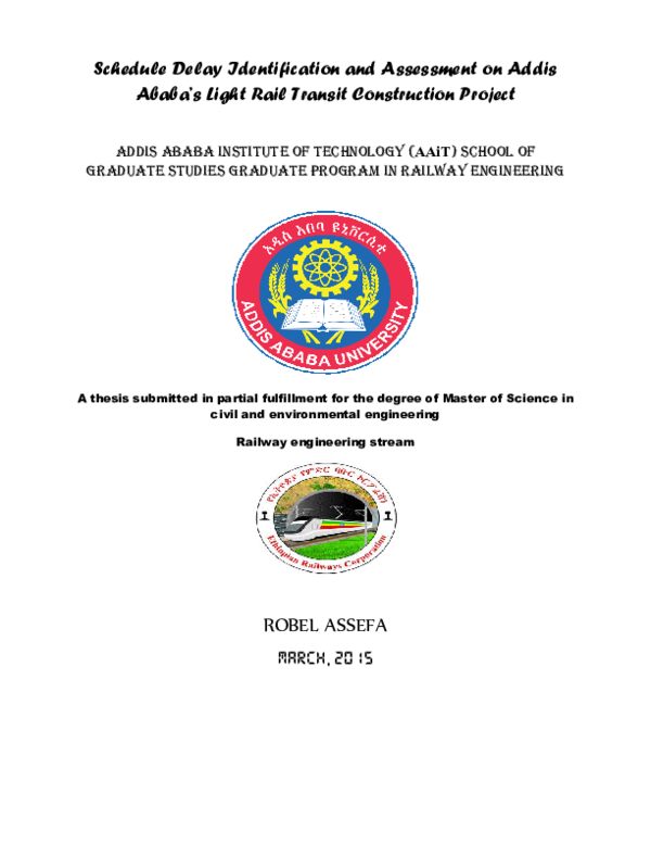PDF) Schedule Delay Identification and Assessment on Addis