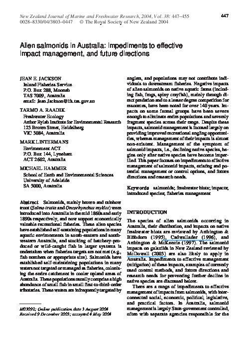 PDF) Alien salmonids in Australia: Impediments to effective