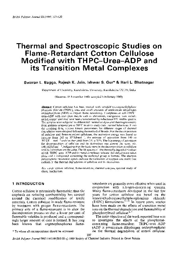 PDF) Thermal and spectroscopic studies on flame-retardant