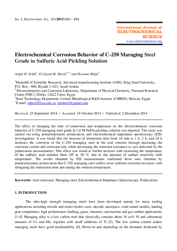 PDF) Electrochemical Corrosion Behavior of C-250 Maraging