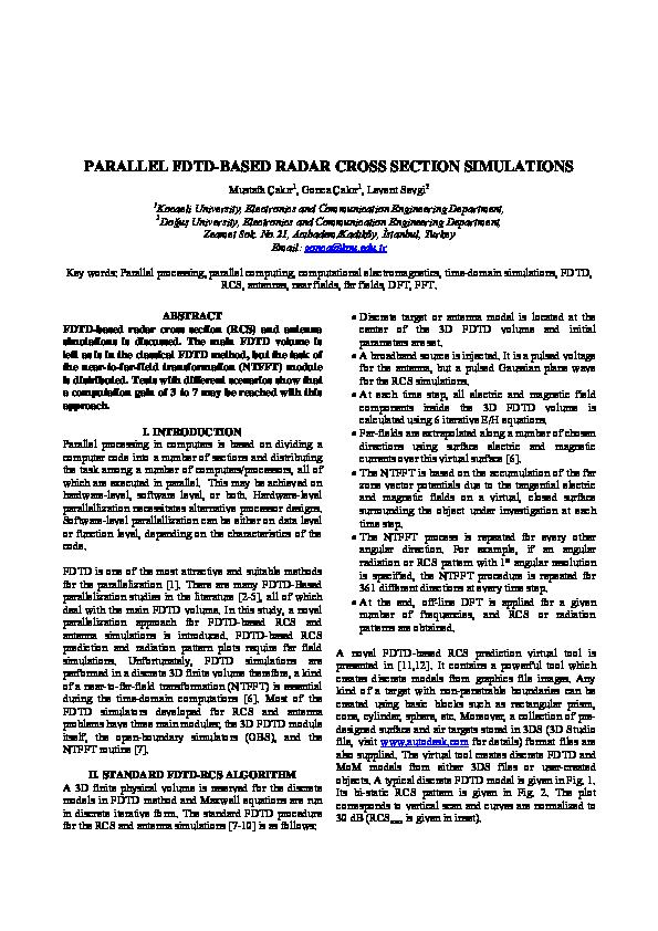 PDF) Parallel FDTD-Based Radar Cross Section Simulations