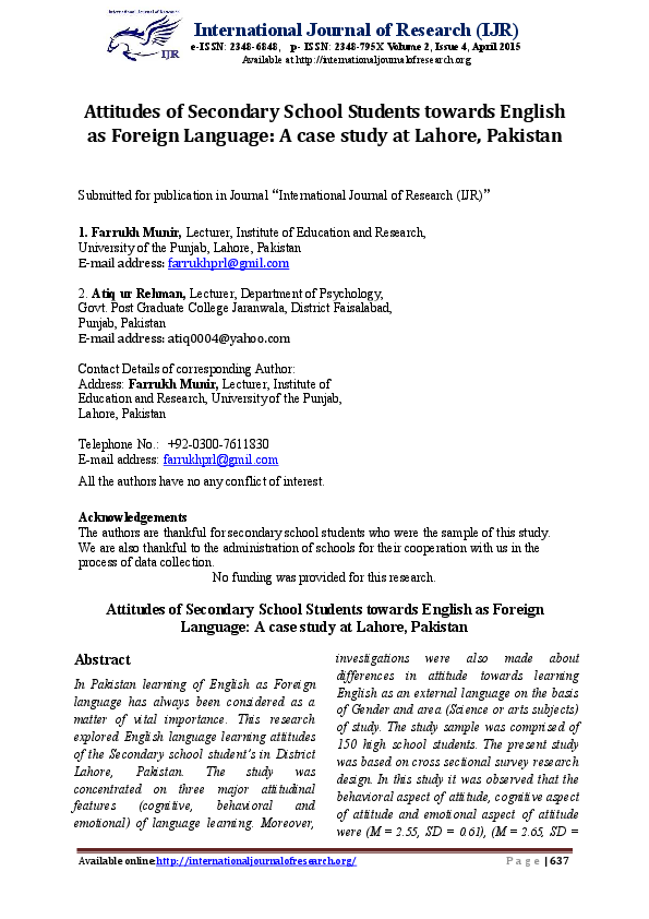 PDF) Attitudes of Secondary School Students towards English