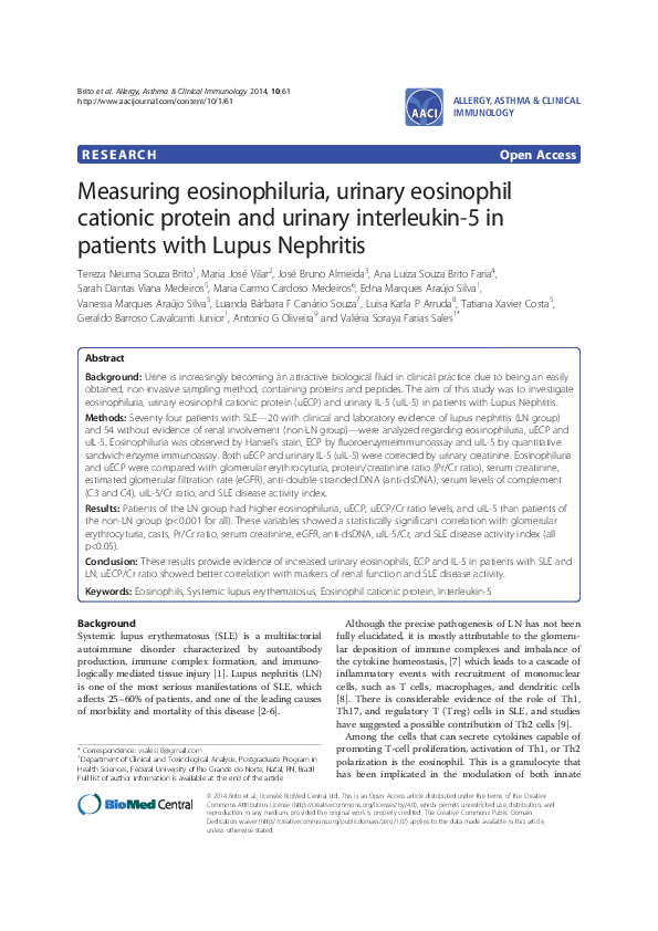Pdf Measuring Eosinophiluria Urinary Eosinophil Cationic