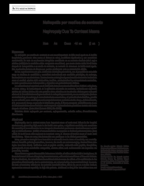 Fisiopatología de la nefropatía por radiocontraste en diabetes