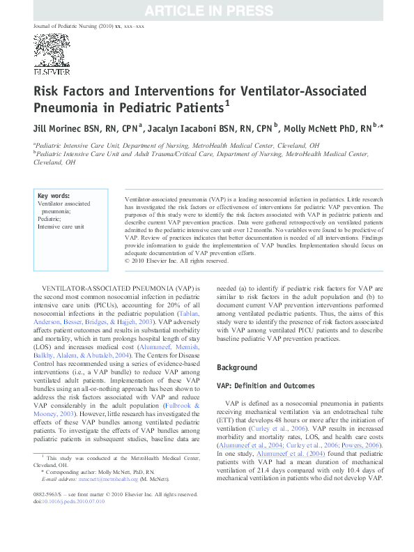 PDF) Risk Factors and Interventions for Ventilator