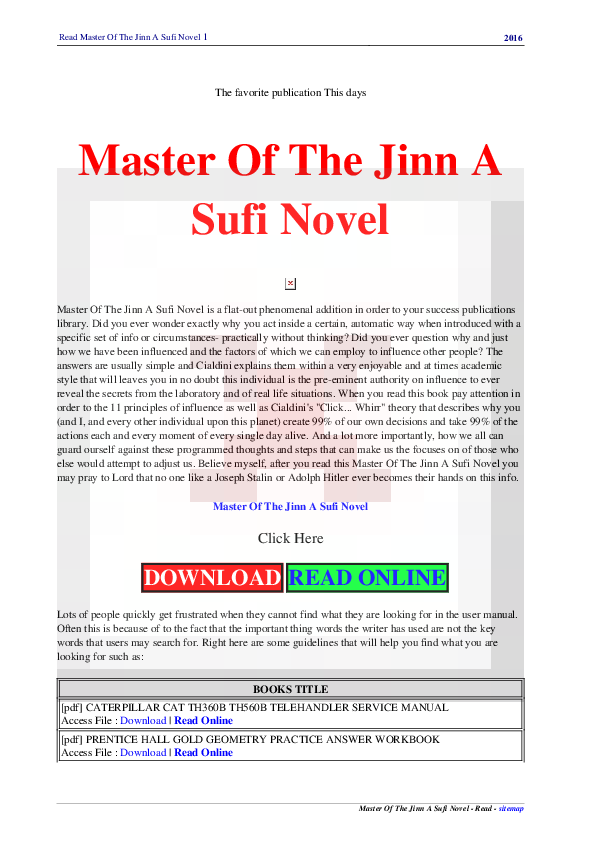 PDF) Read Master Of The Jinn A Sufi Novel 1 2016 Master Of The Jinn