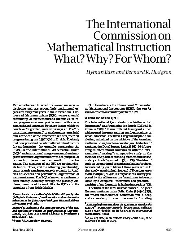 PDF) The International Commission on Mathematical