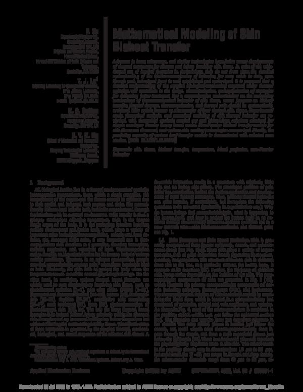 PDF) Mathematical Modeling of Skin Bioheat Transfer | Eddie