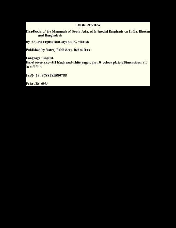 Doc Handbook Of The Mammals Of South Asia Jayanta Mallick Academia Edu