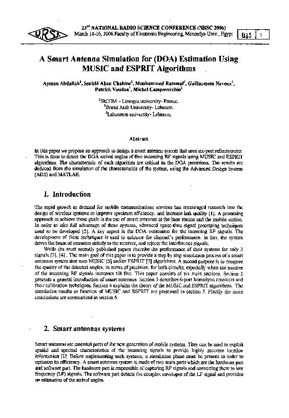 PDF) A Smart Antenna Simulation for (DOA) Estimation Using