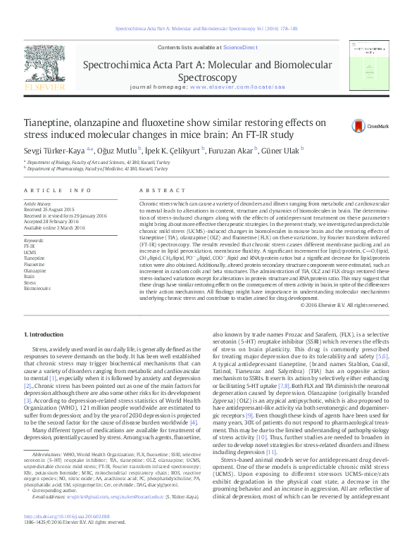 PDF) Tianeptine, olanzapine and fluoxetine show similar