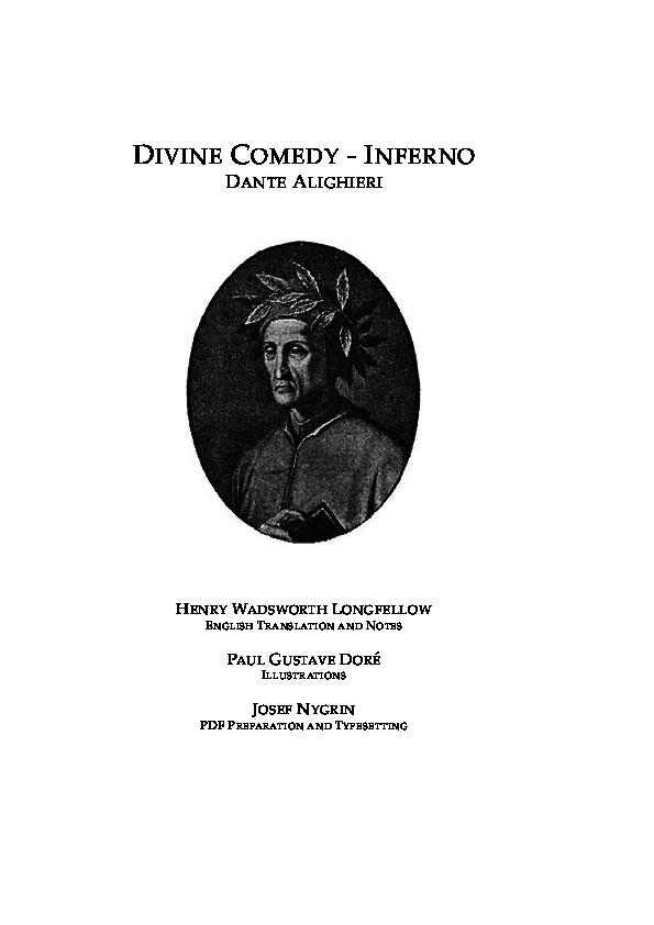 Pdf Divine Comedy Inferno Dante Alighieri English