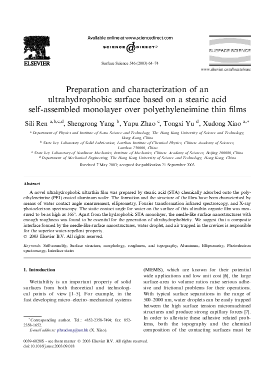 PDF) Preparation and characterization of an ultrahydrophobic