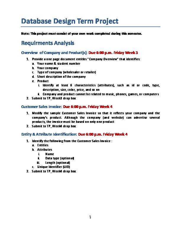 PDF) Database Design Term Project | pawan brar - Academia edu