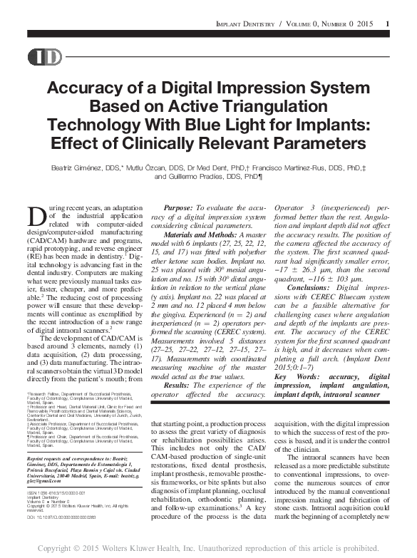 PDF) Accuracy of a Digital Impression System Based on Active