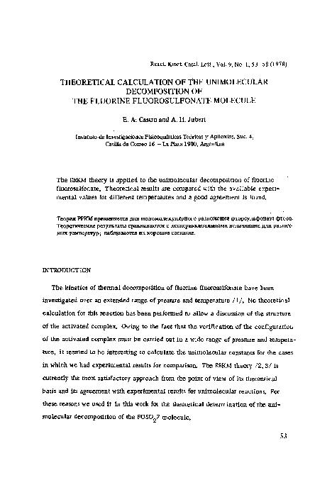 PDF) Theoretical calculation of the unimolecular