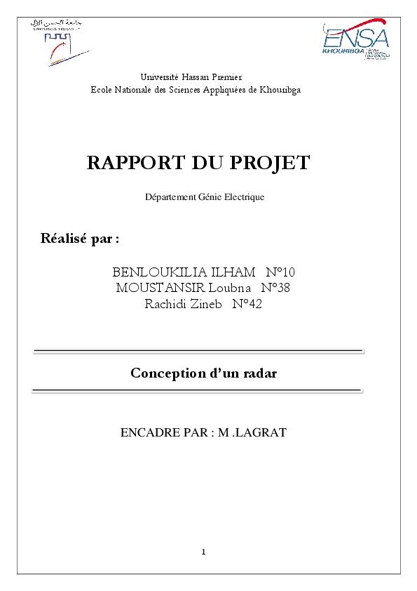 Pdf Rapport Du Projet Conception D Un Radar Zineb Rachidi