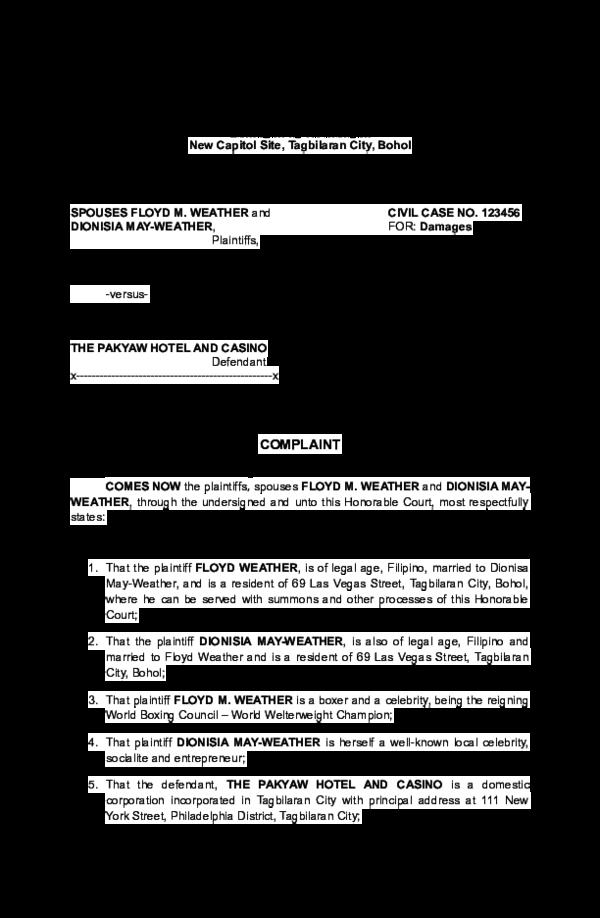 DOC) Civil Complaint Sample | Nelson Laurden - Academia edu