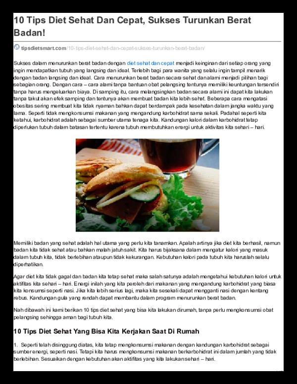 Pdf 10 Tips Diet Sehat Dan Cepat Sukses Turunkan Berat Badan Rud Friedman Academia Edu