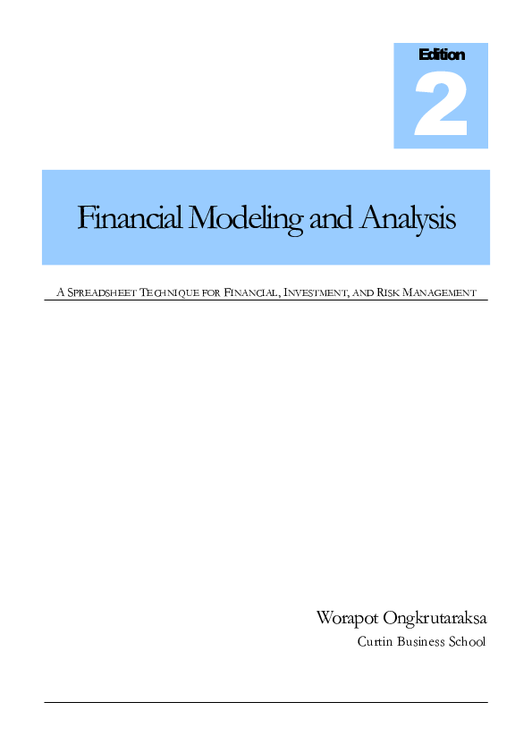 PDF) Financial Modeling and Analysis: A Spreadsheet