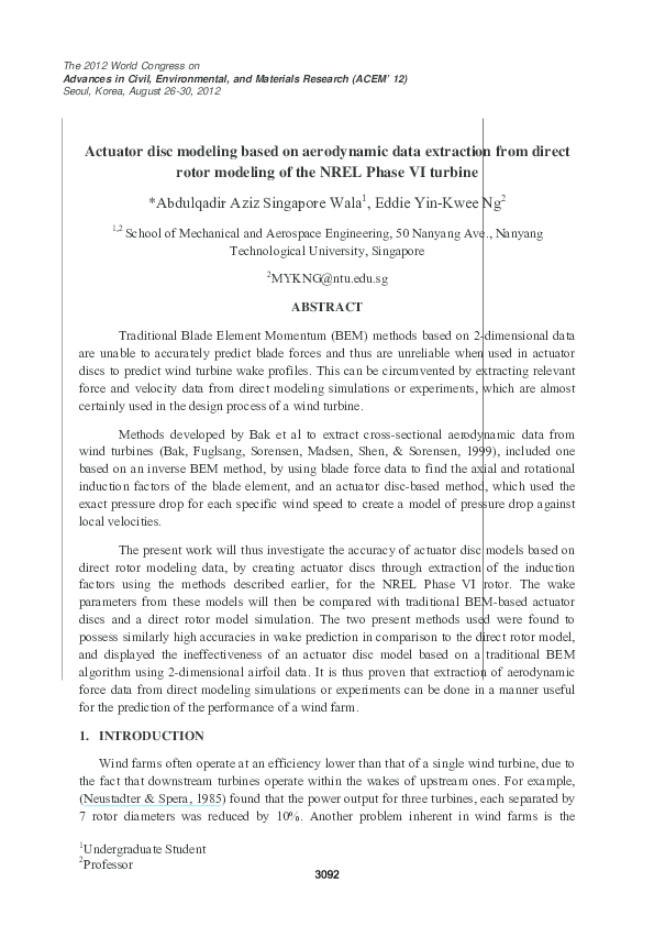 PDF) Actuator disc modelling based on aerodynamic data