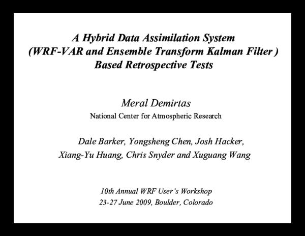 PDF) A Hybrid Data Assimilation System (WRF-VAR and Ensemble