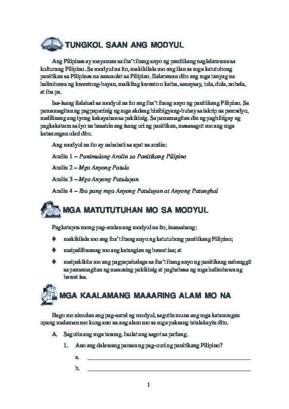 PDF) Panitikan ng pilipinas   Jennifer Pasiga - Academia edu