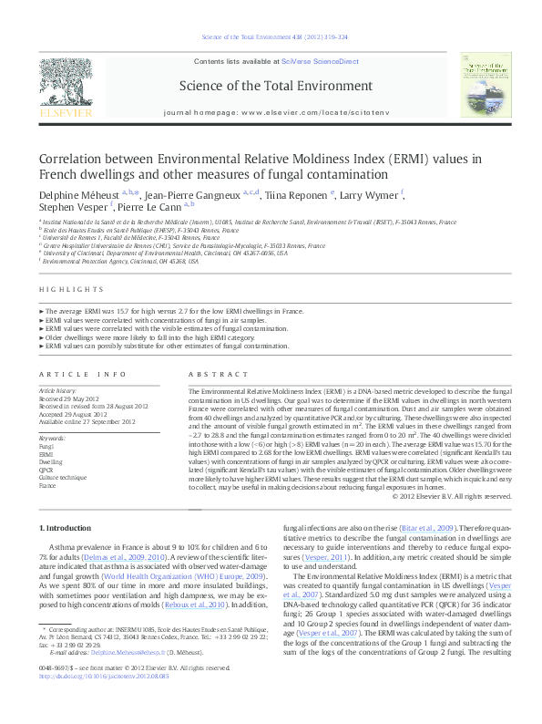 PDF) Correlation between Environmental Relative Moldiness