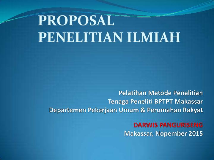 Contoh Proposal Penelitian Metode Ilmiah
