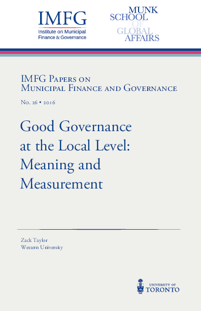 PDF) Good Governance at the Local Level: Meaning and
