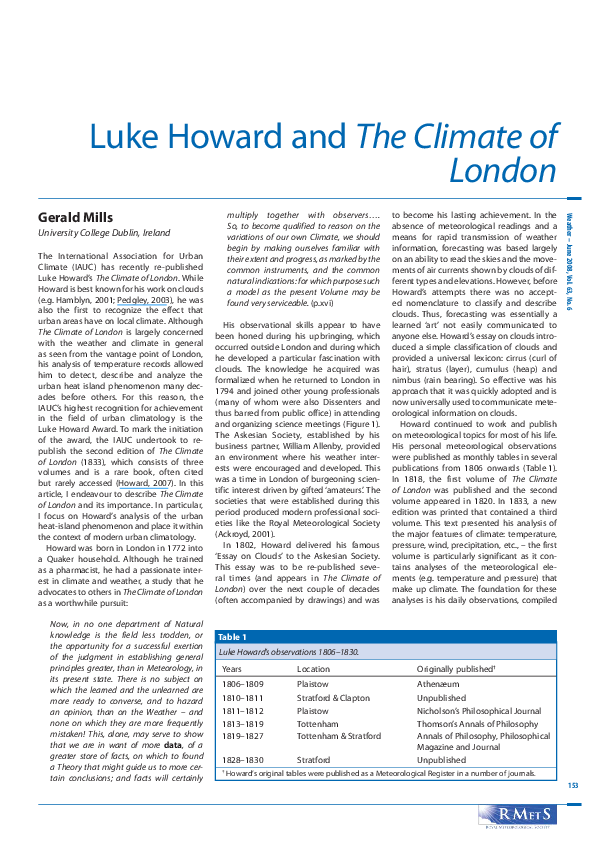 PDF) Luke Howard andThe Climate of London | Gerald Mills