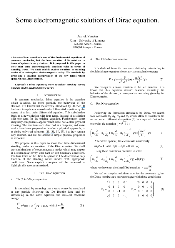 PDF) Some electromagnetic solutions of Dirac equation | Patrick