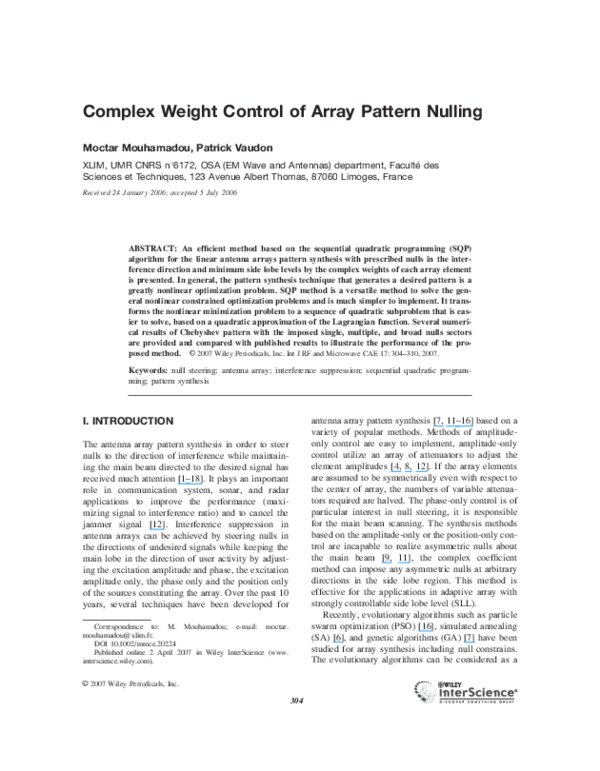 (PDF) Complex weight control of array pattern nulling