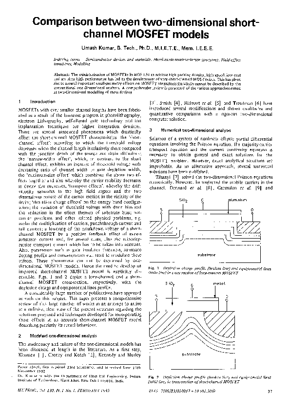 PDF) Comparison between two-dimensional short-channel MOSFET