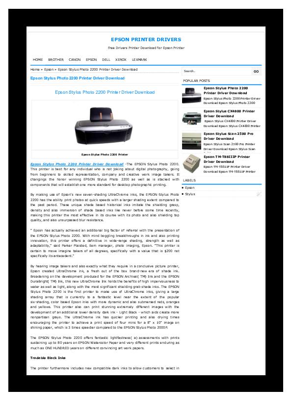 PDF) Epson Stylus Photo 2200 Printer Driver Download | Epson